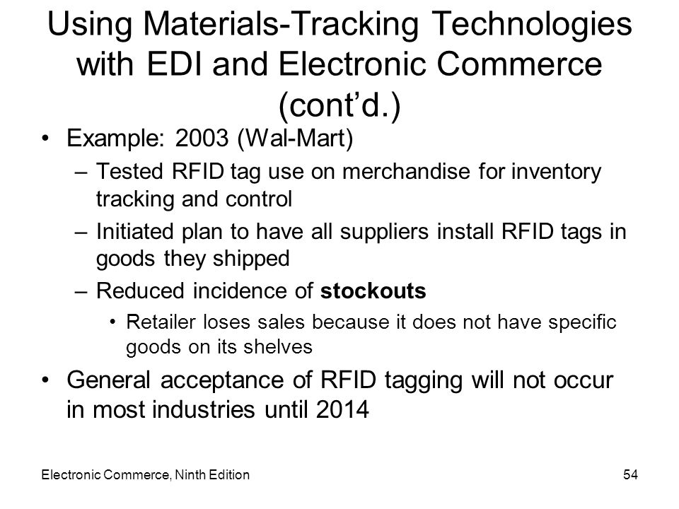 Electronic Commerce, Ninth Edition54 Using Materials-Tracking Technologies with EDI and Electronic Commerce (contd.) Example: 2003 (Wal-Mart) –Tested RFID tag use on merchandise for inventory tracking and control –Initiated plan to have all suppliers install RFID tags in goods they shipped –Reduced incidence of stockouts Retailer loses sales because it does not have specific goods on its shelves General acceptance of RFID tagging will not occur in most industries until 2014