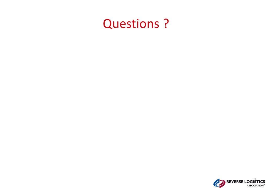 Questions ? 20
