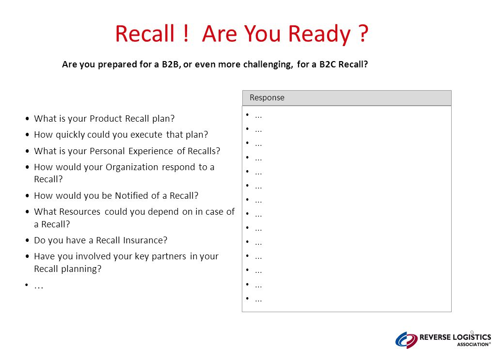 Recall . Are You Ready . What is your Product Recall plan.