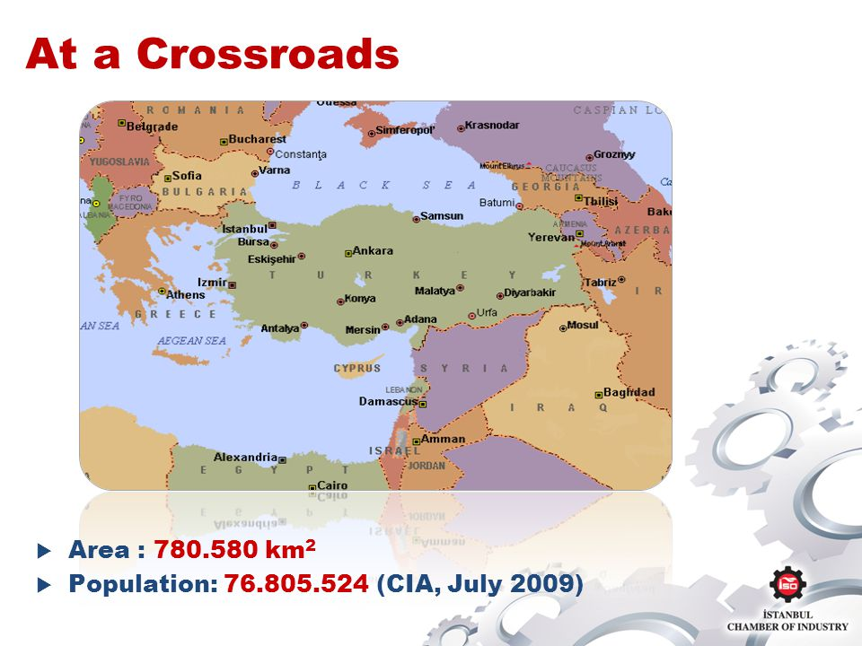 At a Crossroads Area : 780.580 km 2 Population: 76.805.524 (CIA, July 2009)