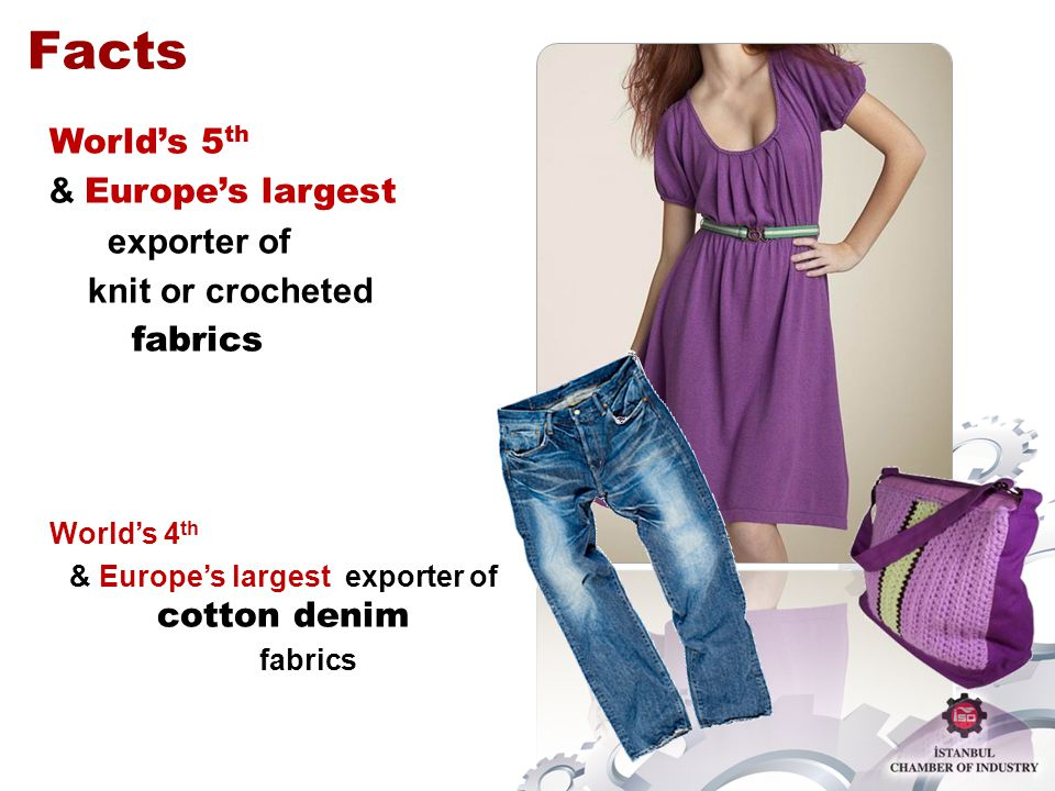 Worlds 5 th & Europes largest exporter of knit or crocheted fabrics Worlds 4 th & Europes largest exporter of cotton denim fabrics Facts