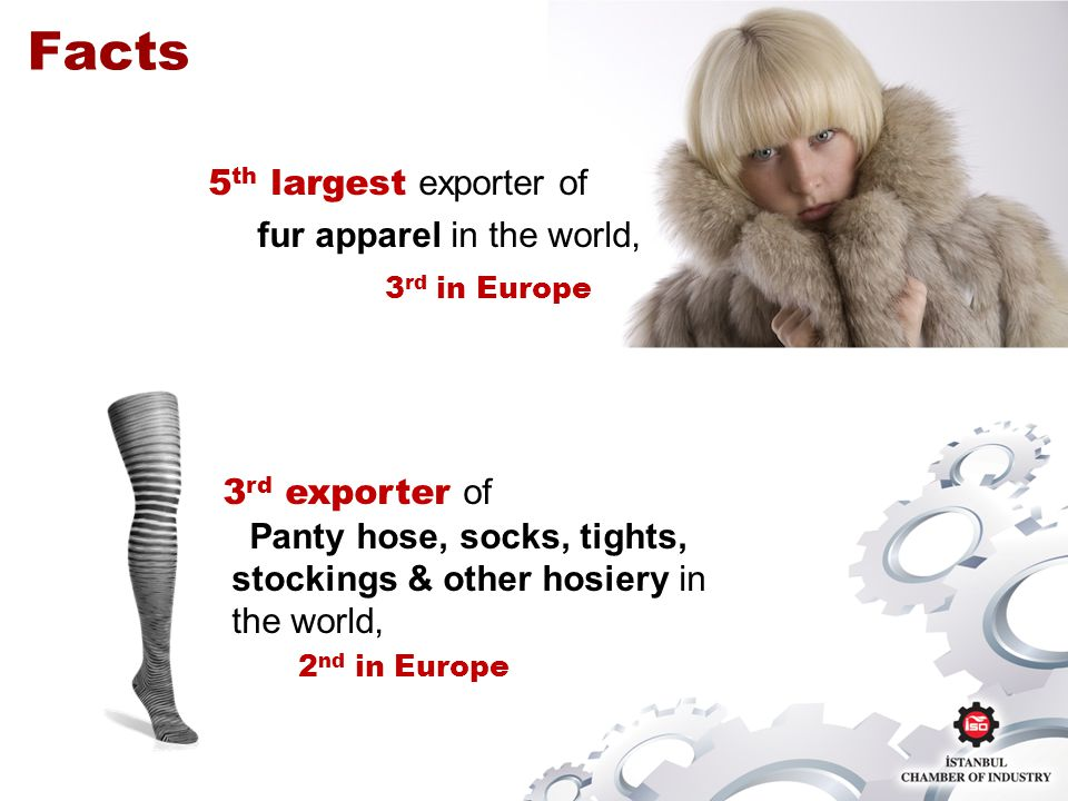 5 th largest exporter of fur apparel in the world, 3 rd in Europe Facts 3 rd exporter of Panty hose, socks, tights, stockings & other hosiery in the world, 2 nd in Europe