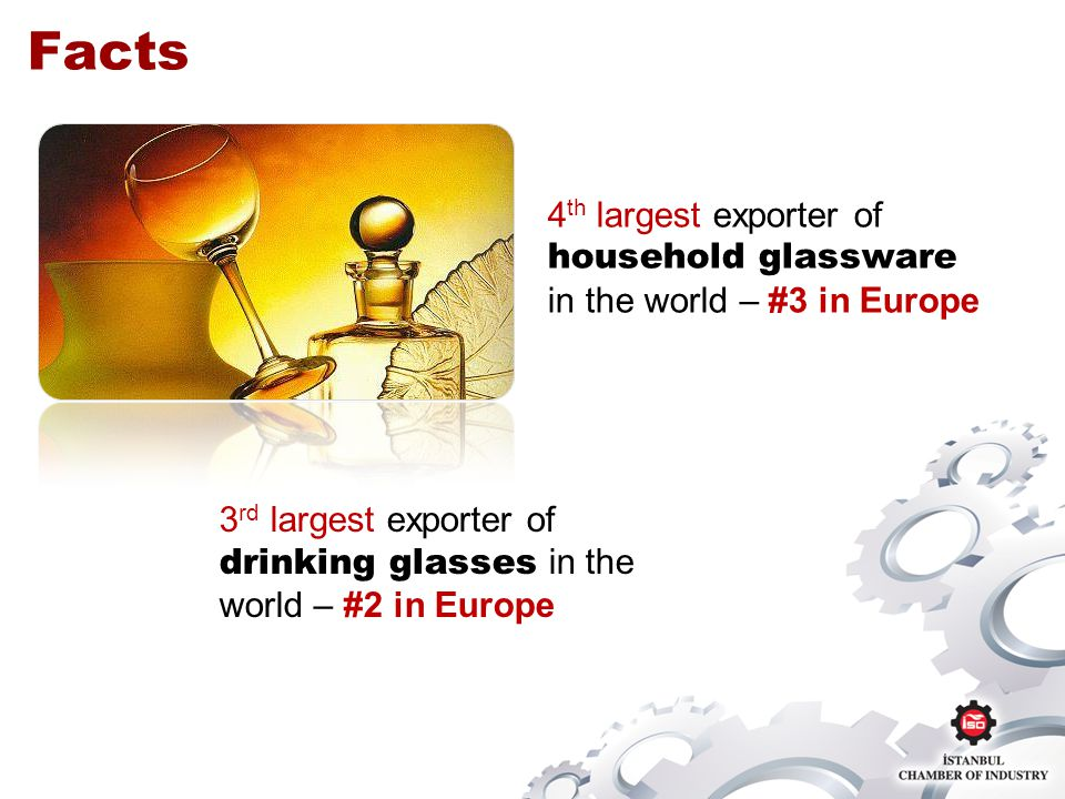 4 th largest exporter of household glassware in the world – #3 in Europe Facts 3 rd largest exporter of drinking glasses in the world – #2 in Europe
