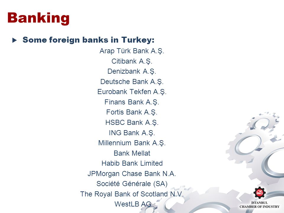 Banking Some foreign banks in Turkey: Arap Türk Bank A.Ş.