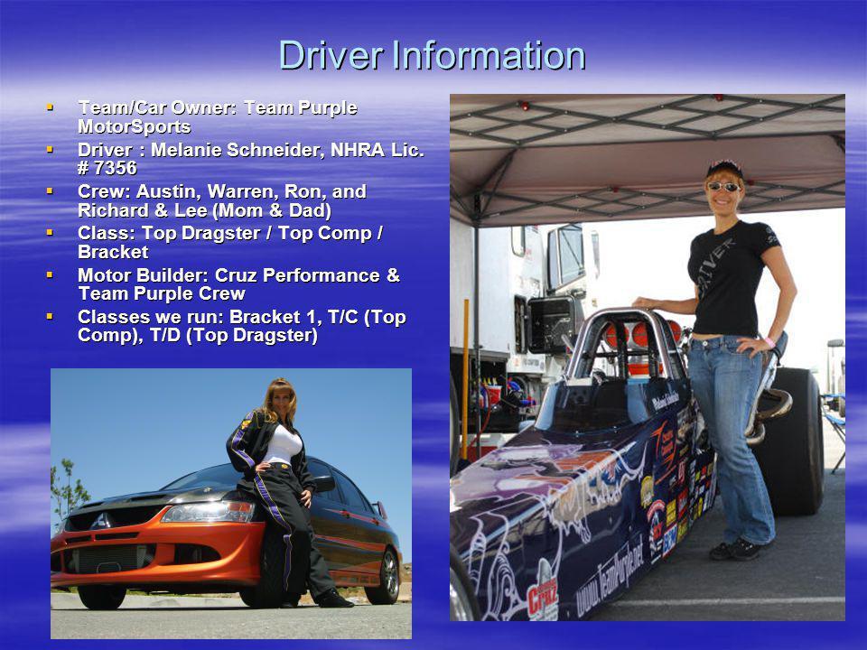 Driver Information Team/Car Owner: Team Purple MotorSports Team/Car Owner: Team Purple MotorSports Driver : Melanie Schneider, NHRA Lic. # 7356 Driver