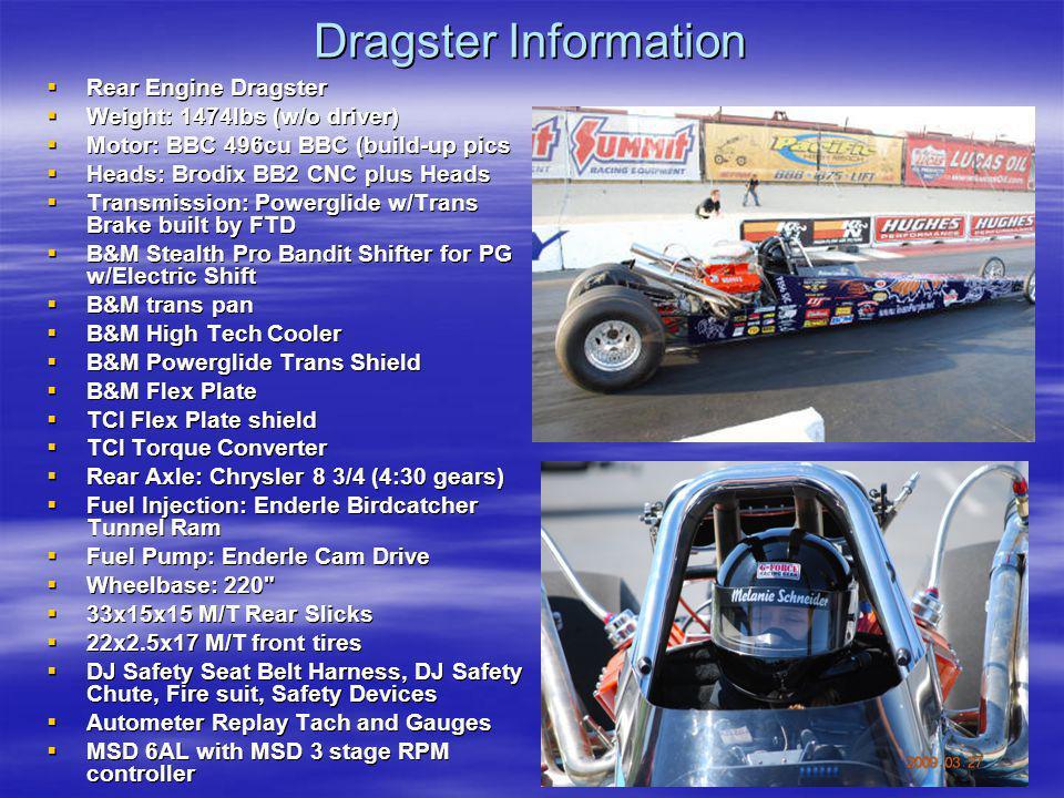 Dragster Information Rear Engine Dragster Rear Engine Dragster Weight: 1474lbs (w/o driver) Weight: 1474lbs (w/o driver) Motor: BBC 496cu BBC (build-u