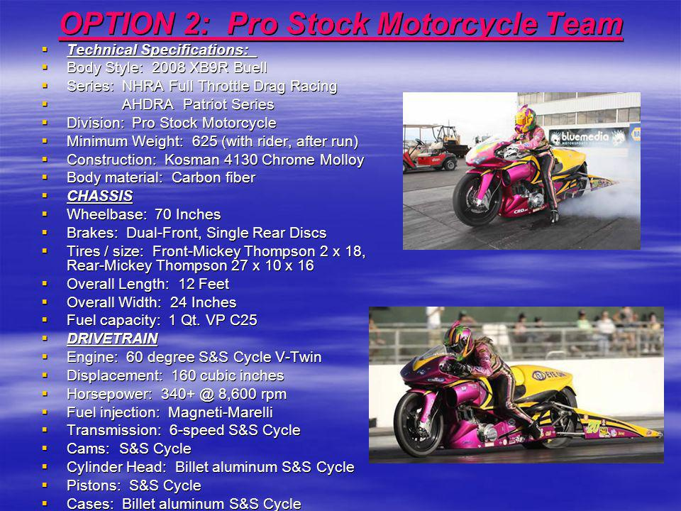 OPTION 2: Pro Stock Motorcycle Team Technical Specifications: Technical Specifications: Body Style: 2008 XB9R Buell Body Style: 2008 XB9R Buell Series