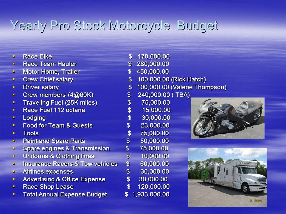 Yearly Pro Stock Motorcycle Budget Race Bike $ 170,000.00 Race Bike $ 170,000.00 Race Team Hauler $ 280,000.00 Race Team Hauler $ 280,000.00 Motor Hom