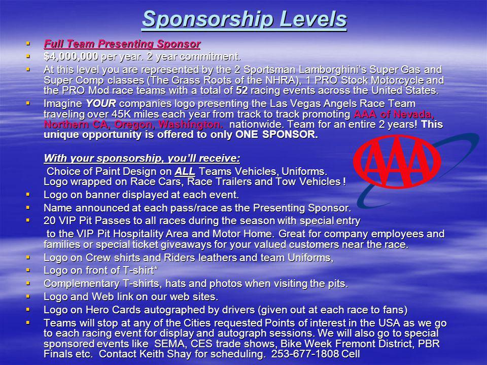 Sponsorship Levels Full Team Presenting Sponsor Full Team Presenting Sponsor $4,000,000 per year. 2 year commitment. $4,000,000 per year. 2 year commi