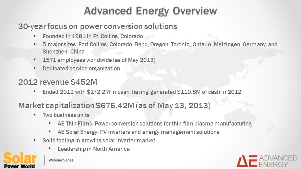 Advanced Energy Overview 30-year focus on power conversion solutions Founded in 1981 in Ft.