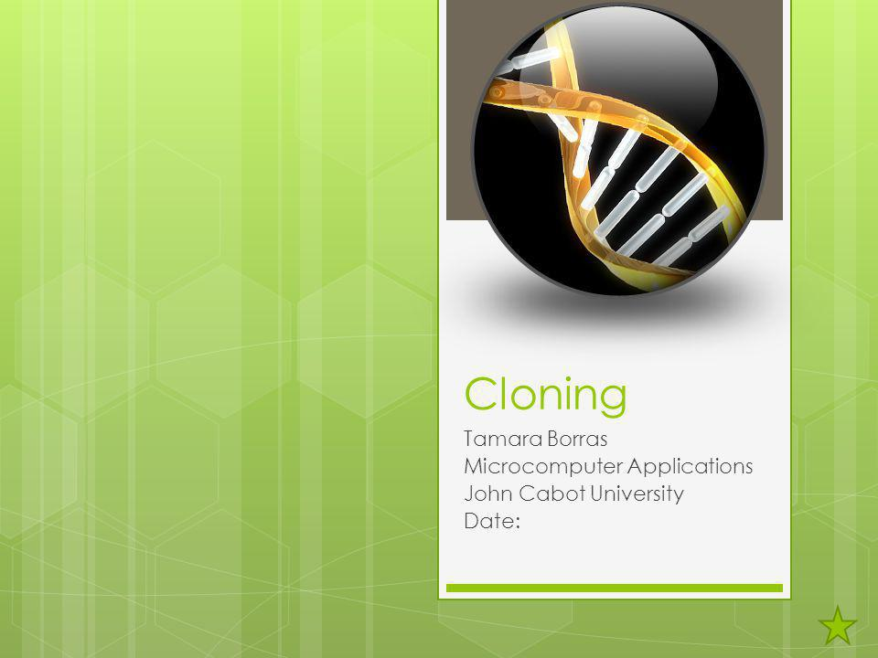 Cloning Tamara Borras Microcomputer Applications John Cabot University Date: