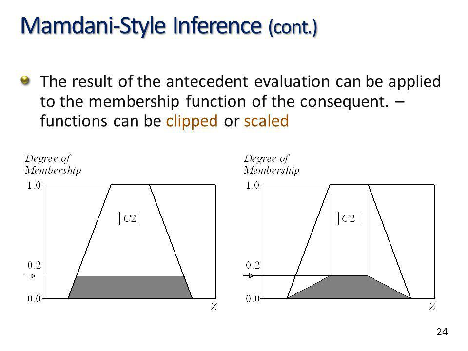 24 Mamdani-Style Inference (cont.) The result of the antecedent evaluation can be applied to the membership function of the consequent. – functions ca