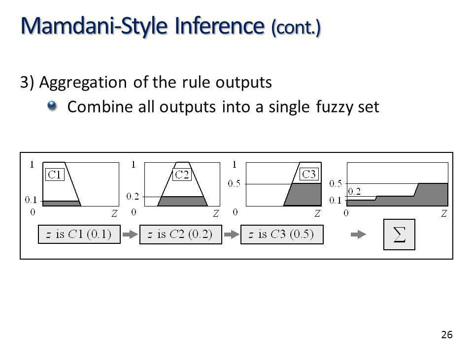 26 Mamdani-Style Inference (cont.) 3) Aggregation of the rule outputs Combine all outputs into a single fuzzy set