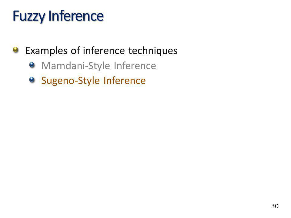 30 Fuzzy Inference Examples of inference techniques Mamdani-Style Inference Sugeno-Style Inference