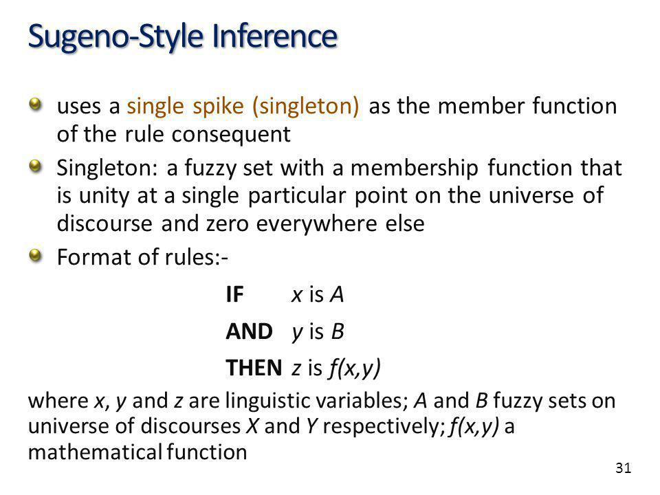 31 Sugeno-Style Inference uses a single spike (singleton) as the member function of the rule consequent Singleton: a fuzzy set with a membership funct
