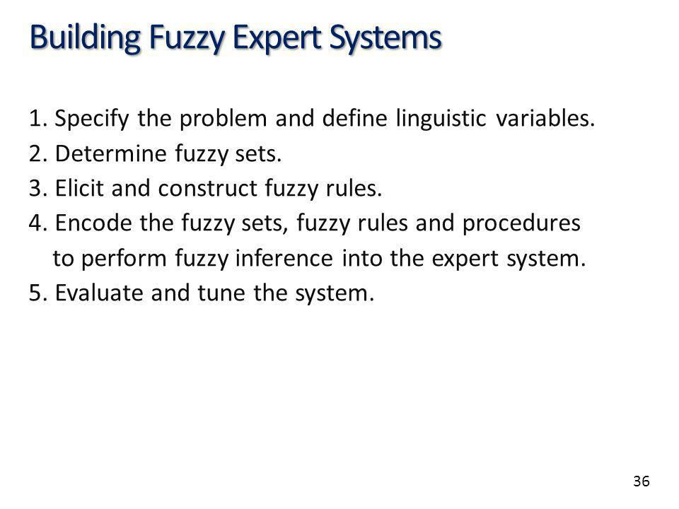 36 Building Fuzzy Expert Systems 1. Specify the problem and define linguistic variables. 2. Determine fuzzy sets. 3. Elicit and construct fuzzy rules.