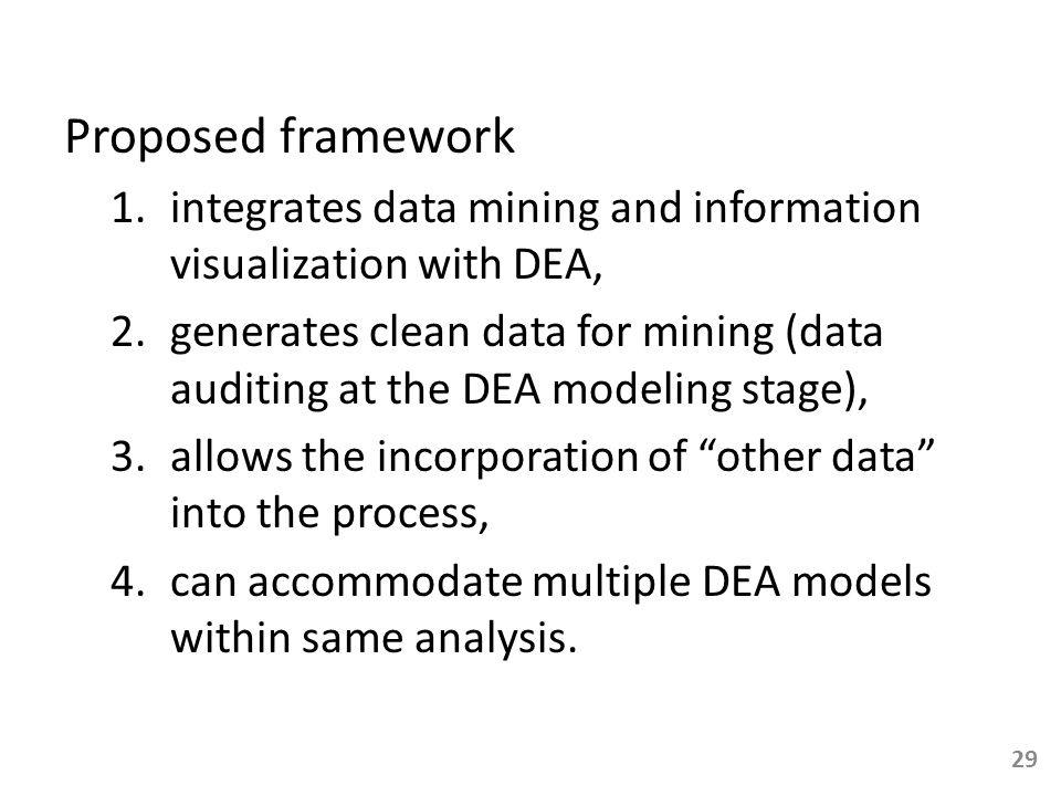 Proposed framework 1.integrates data mining and information visualization with DEA, 2.generates clean data for mining (data auditing at the DEA modeli