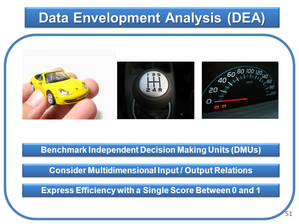 Data Envelopment Analysis (DEA) Benchmark Independent Decision Making Units (DMUs) Express Efficiency with a Single Score Between 0 and 1 Consider Mul