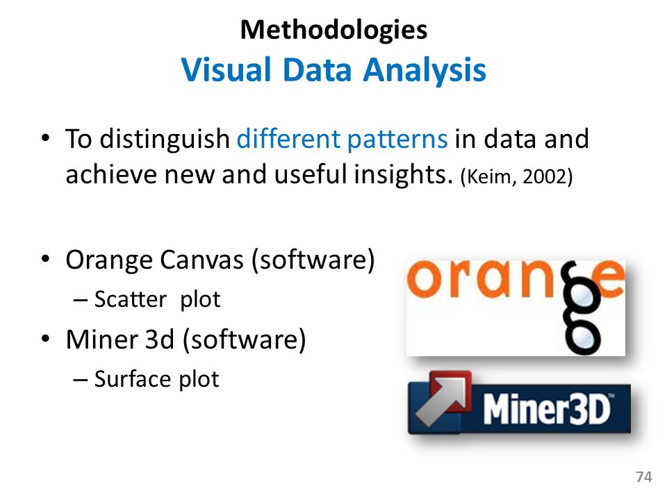 Methodologies Visual Data Analysis To distinguish different patterns in data and achieve new and useful insights. (Keim, 2002) Orange Canvas (software