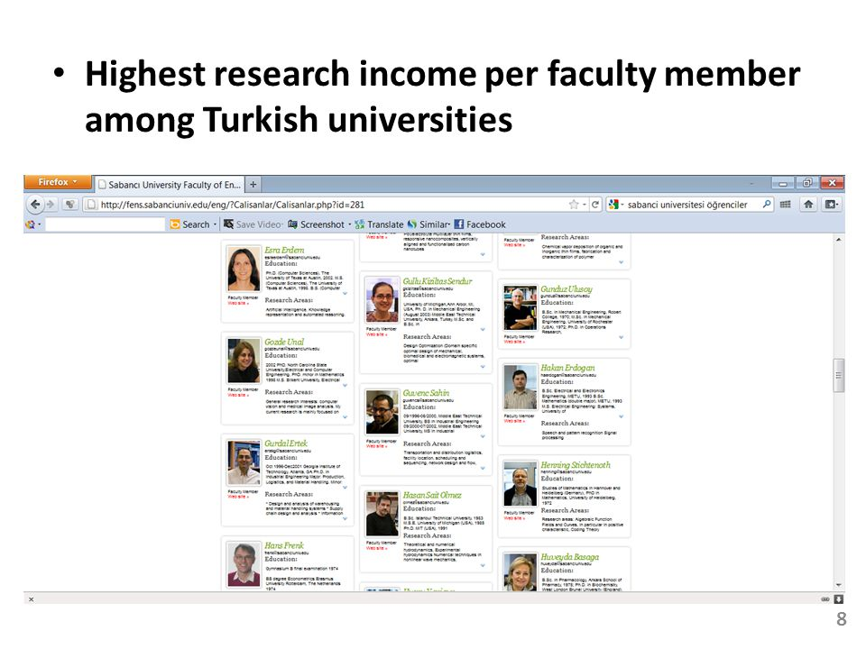 Highest research income per faculty member among Turkish universities 8