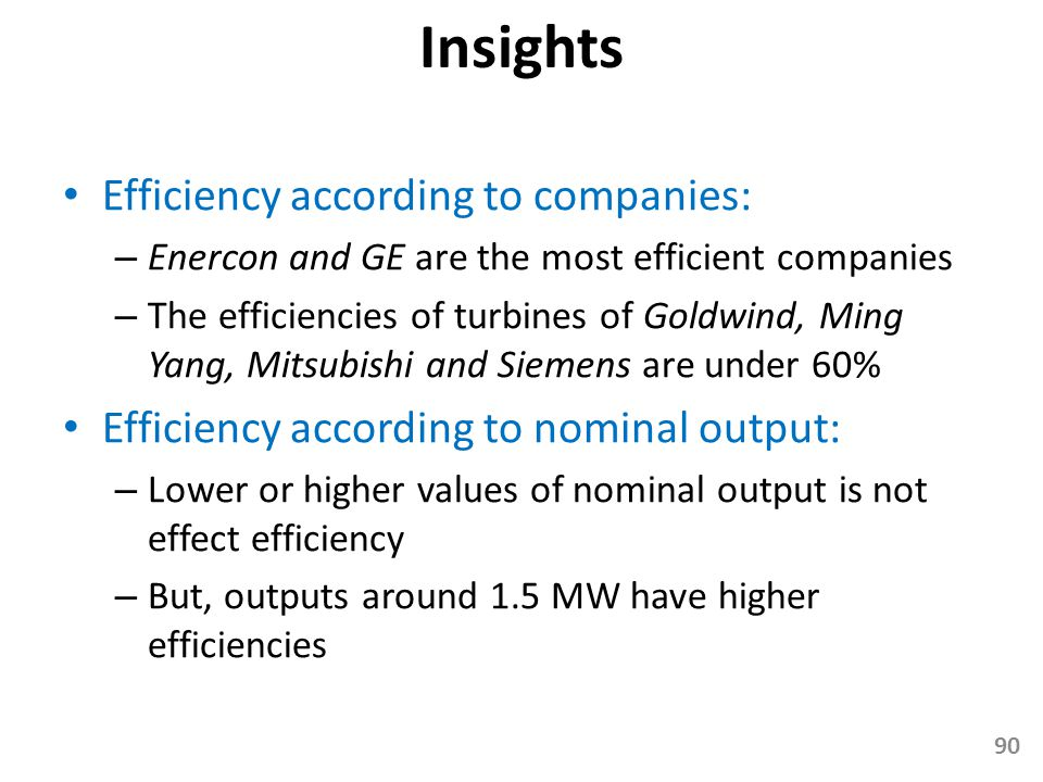 Insights Efficiency according to companies: – Enercon and GE are the most efficient companies – The efficiencies of turbines of Goldwind, Ming Yang, M
