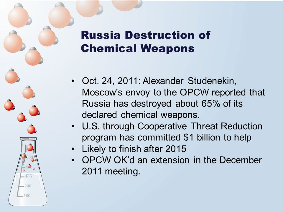 Russia Destruction of Chemical Weapons Oct. 24, 2011: Alexander Studenekin, Moscow's envoy to the OPCW reported that Russia has destroyed about 65% of