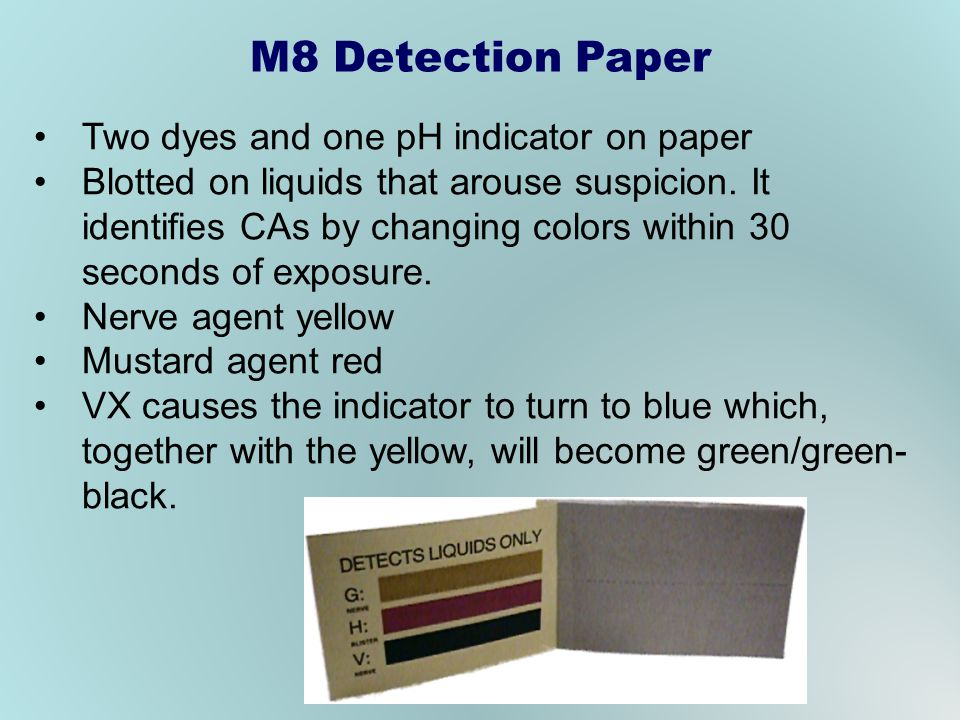 Two dyes and one pH indicator on paper Blotted on liquids that arouse suspicion. It identifies CAs by changing colors within 30 seconds of exposure. N