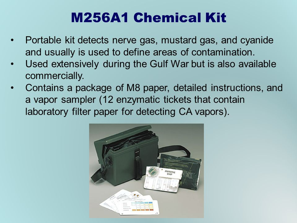 Portable kit detects nerve gas, mustard gas, and cyanide and usually is used to define areas of contamination.