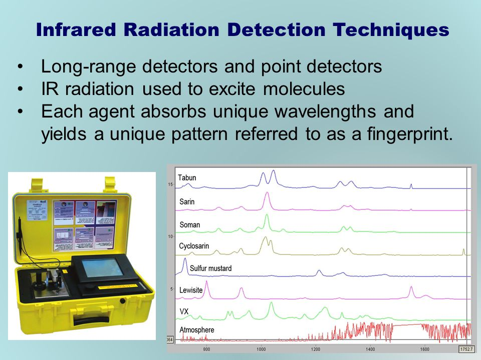 Long-range detectors and point detectors IR radiation used to excite molecules Each agent absorbs unique wavelengths and yields a unique pattern referred to as a fingerprint.