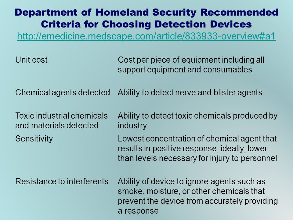 Department of Homeland Security Recommended Criteria for Choosing Detection Devices http://emedicine.medscape.com/article/833933-overview#a1 Unit cost