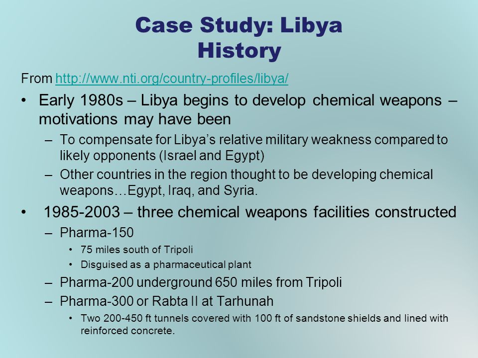 Case Study: Libya History From http://www.nti.org/country-profiles/libya/http://www.nti.org/country-profiles/libya/ Early 1980s – Libya begins to deve