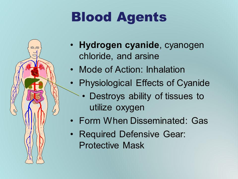 Blood Agents Hydrogen cyanide, cyanogen chloride, and arsine Mode of Action: Inhalation Physiological Effects of Cyanide Destroys ability of tissues to utilize oxygen Form When Disseminated: Gas Required Defensive Gear: Protective Mask