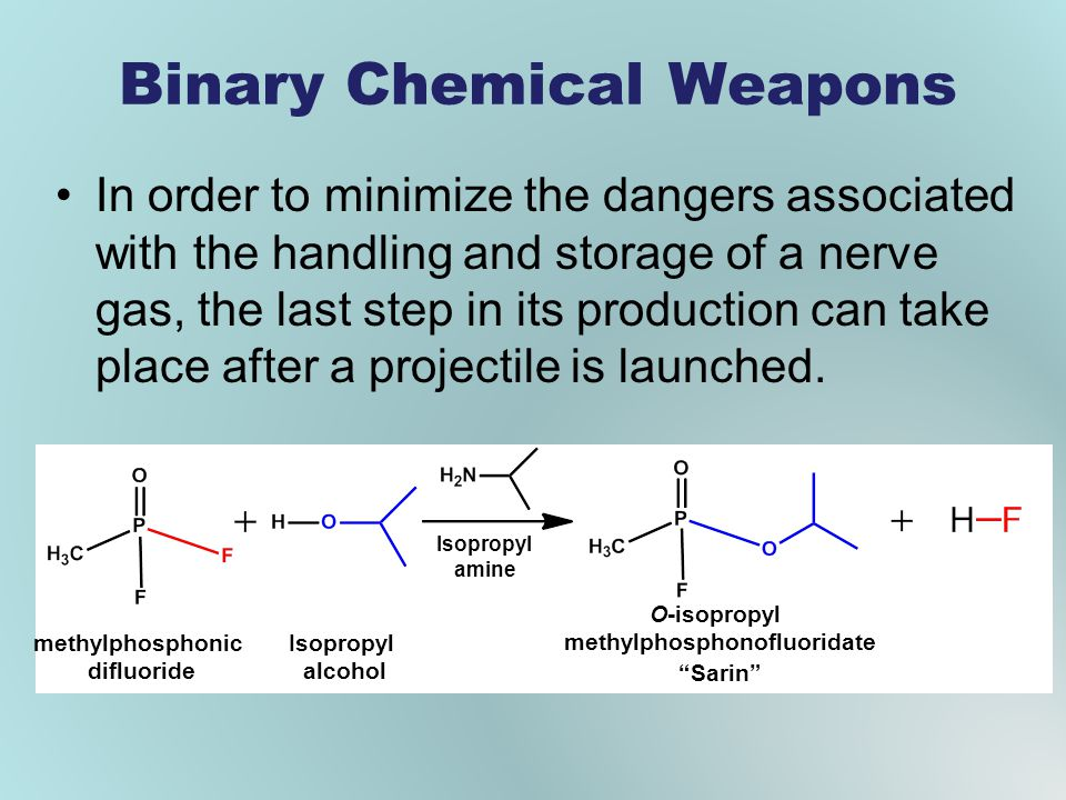 Binary Chemical Weapons In order to minimize the dangers associated with the handling and storage of a nerve gas, the last step in its production can take place after a projectile is launched.