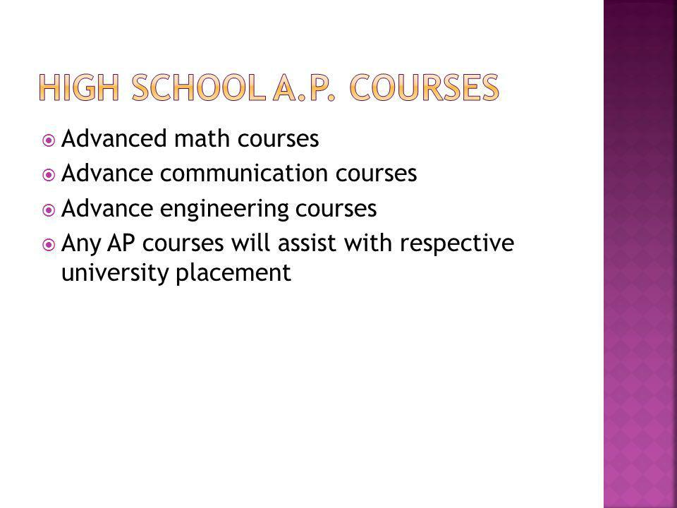 Advanced math courses Advance communication courses Advance engineering courses Any AP courses will assist with respective university placement