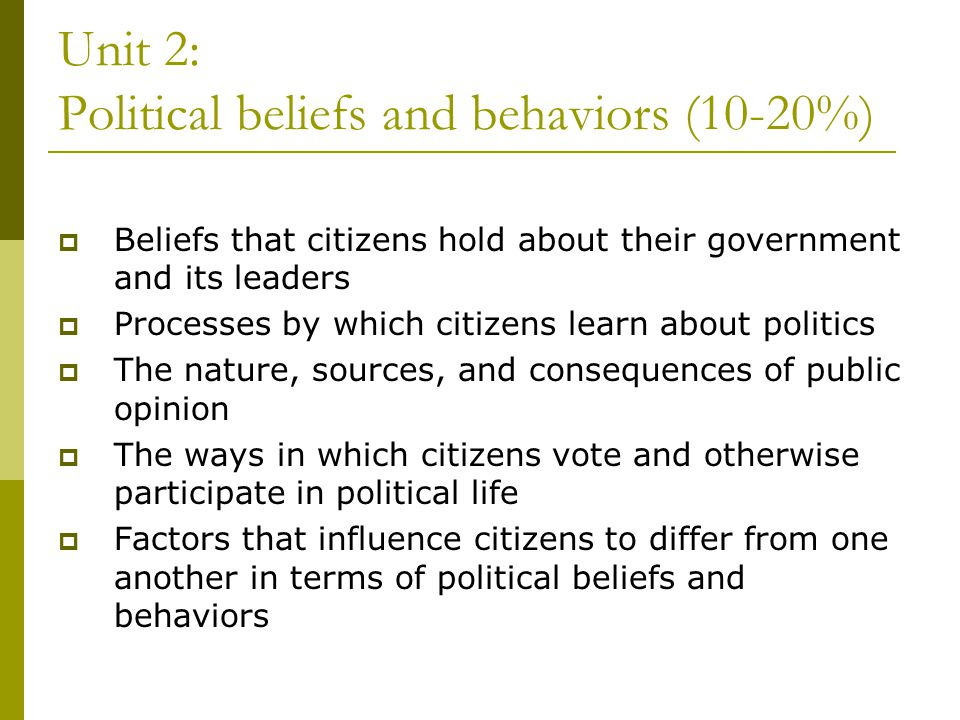 Unit 2: Political beliefs and behaviors (10-20%) Beliefs that citizens hold about their government and its leaders Processes by which citizens learn a