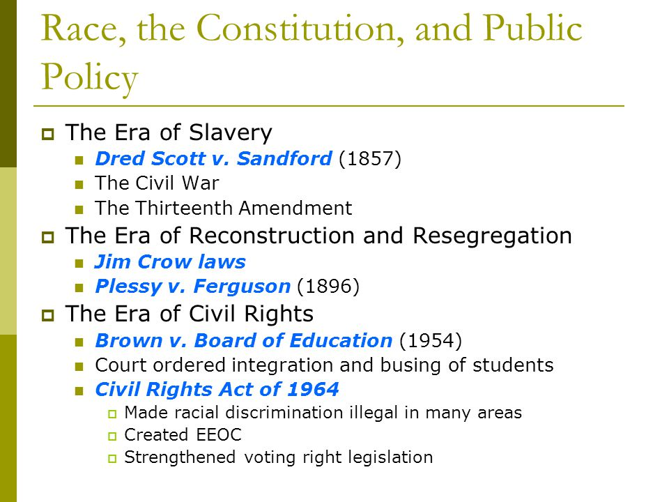Race, the Constitution, and Public Policy The Era of Slavery Dred Scott v. Sandford (1857) The Civil War The Thirteenth Amendment The Era of Reconstru