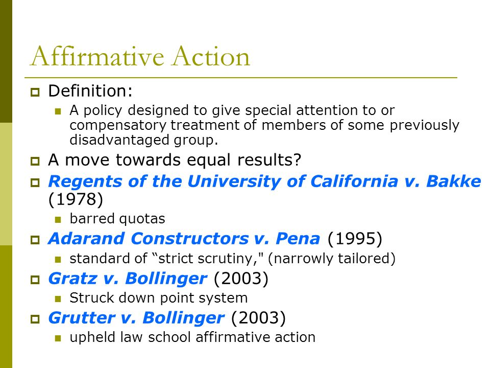 Affirmative Action Definition: A policy designed to give special attention to or compensatory treatment of members of some previously disadvantaged gr