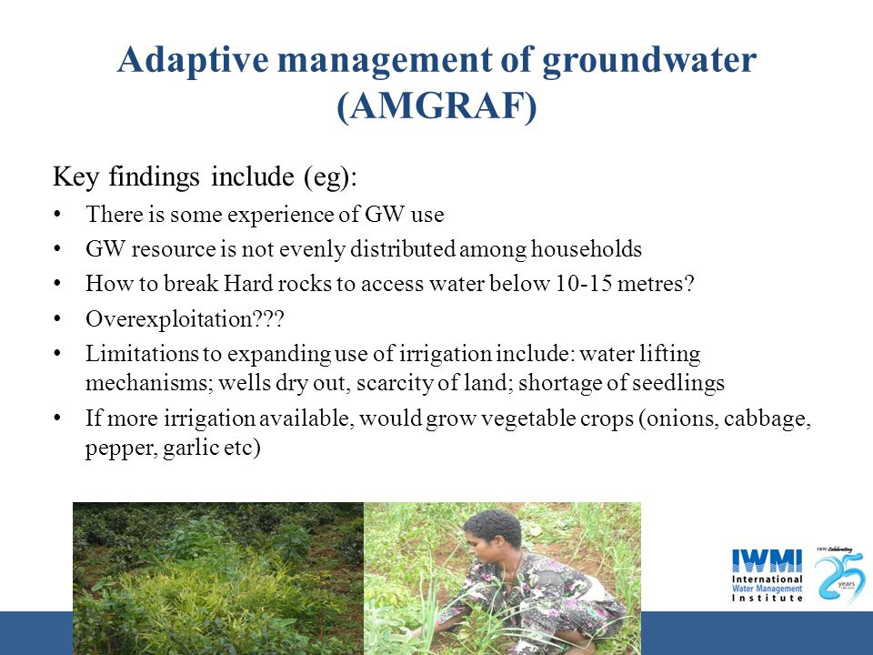 Water for a food-secure world Adaptive management of groundwater (AMGRAF) Key findings include (eg): There is some experience of GW use GW resource is not evenly distributed among households How to break Hard rocks to access water below 10-15 metres.
