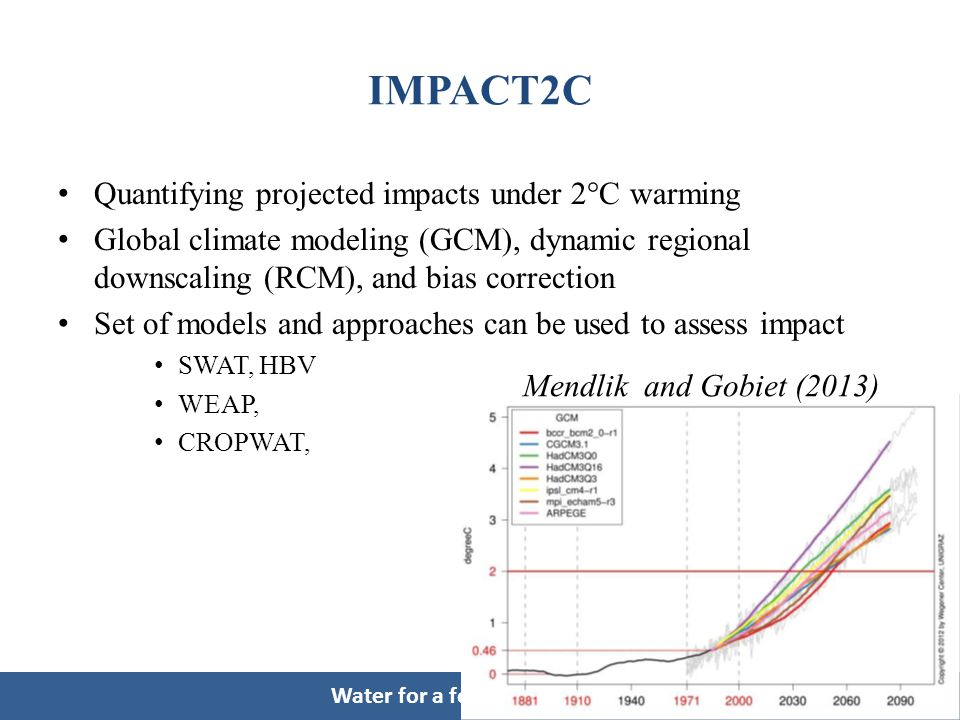 Water for a food-secure world IMPACT2C Quantifying projected impacts under 2°C warming Global climate modeling (GCM), dynamic regional downscaling (RCM), and bias correction Set of models and approaches can be used to assess impact SWAT, HBV WEAP, CROPWAT, Mendlik and Gobiet (2013)