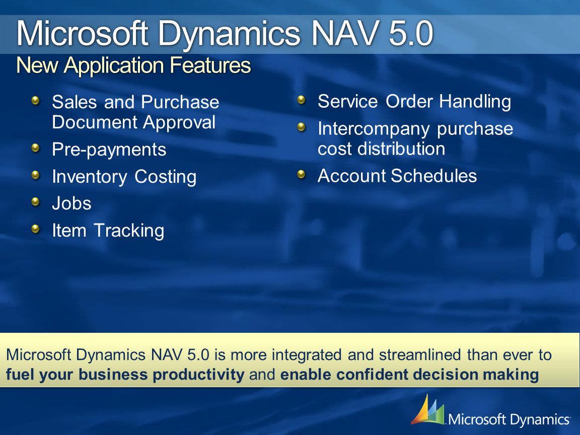 Sales and Purchase Document Approval Pre-payments Inventory Costing Jobs Item Tracking Microsoft Dynamics NAV 5.0 is more integrated and streamlined t