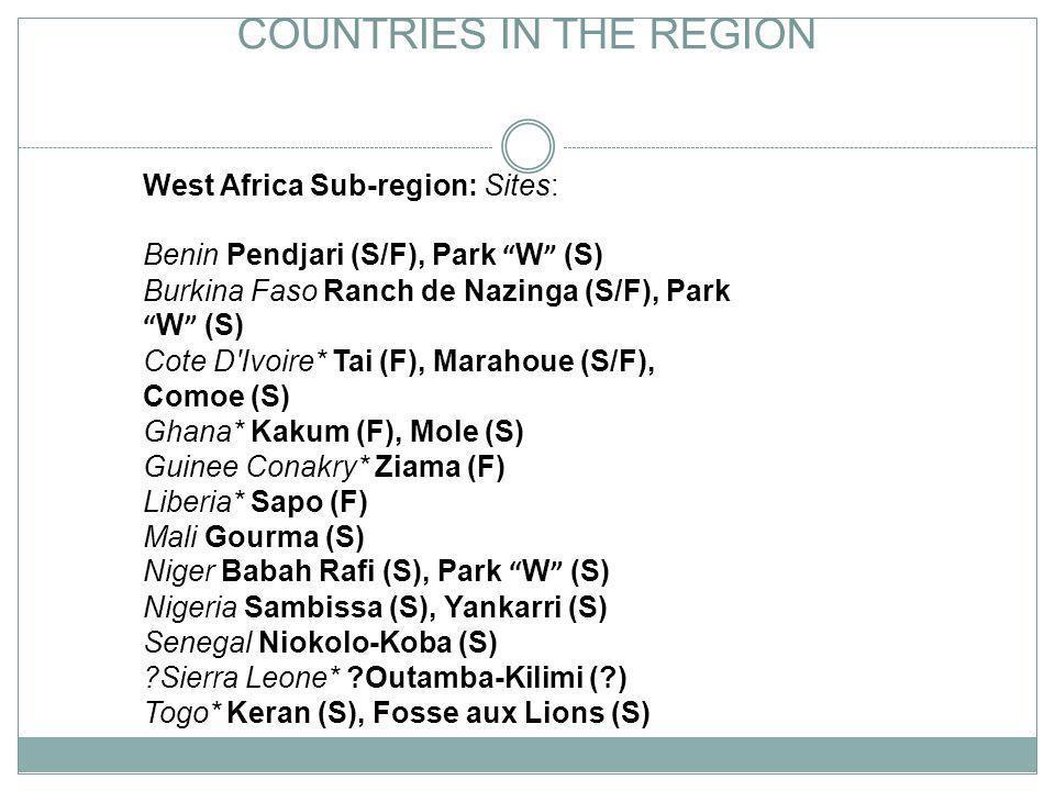 COUNTRIES IN THE REGION West Africa Sub-region: Sites: Benin Pendjari (S/F), Park W (S) Burkina Faso Ranch de Nazinga (S/F), Park W (S) Cote D'Ivoire*