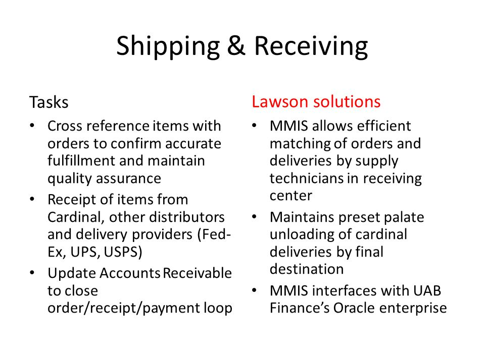 Shipping & Receiving Tasks Cross reference items with orders to confirm accurate fulfillment and maintain quality assurance Receipt of items from Card
