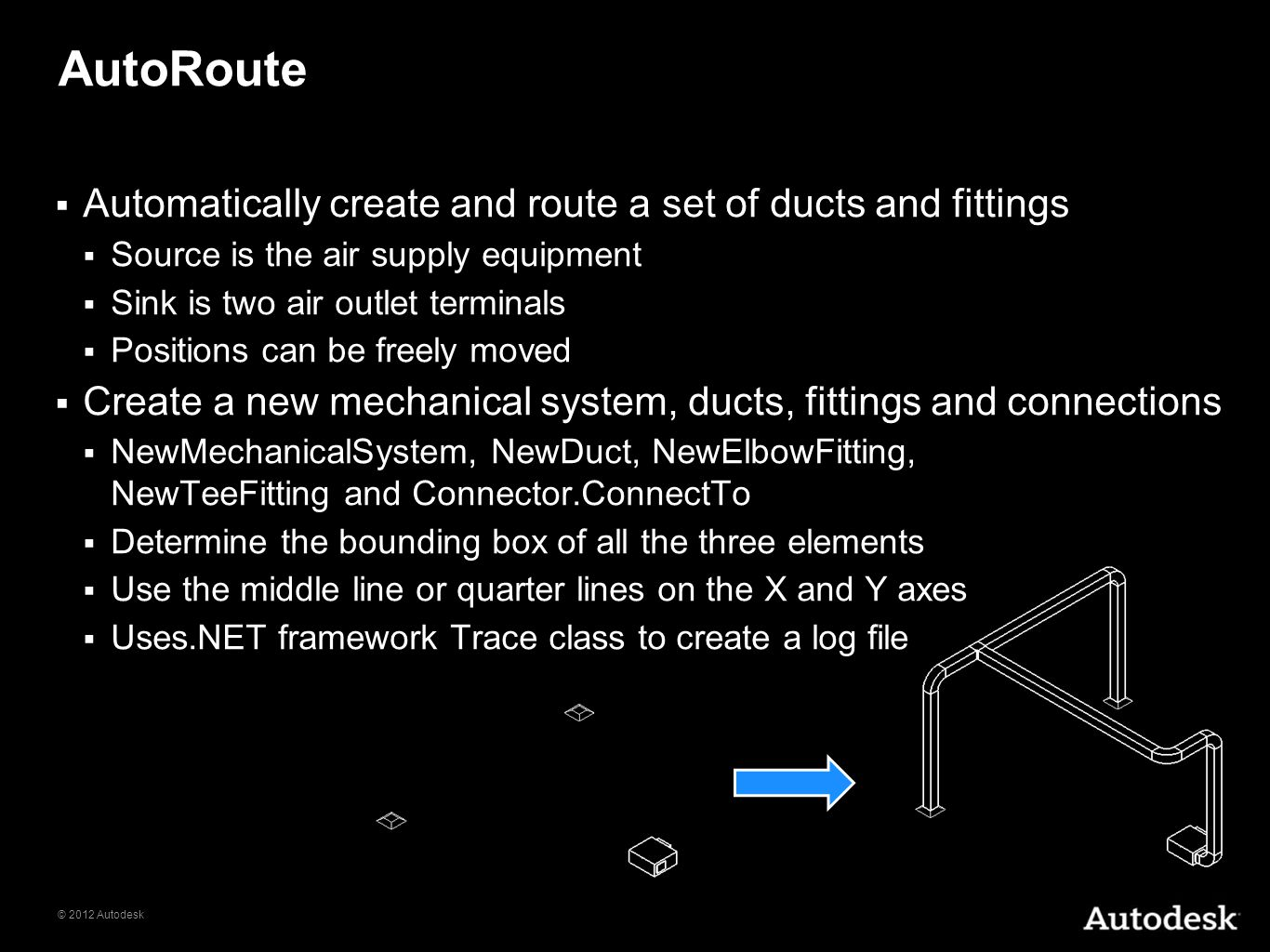 © 2012 Autodesk AutoRoute Automatically create and route a set of ducts and fittings Source is the air supply equipment Sink is two air outlet termina