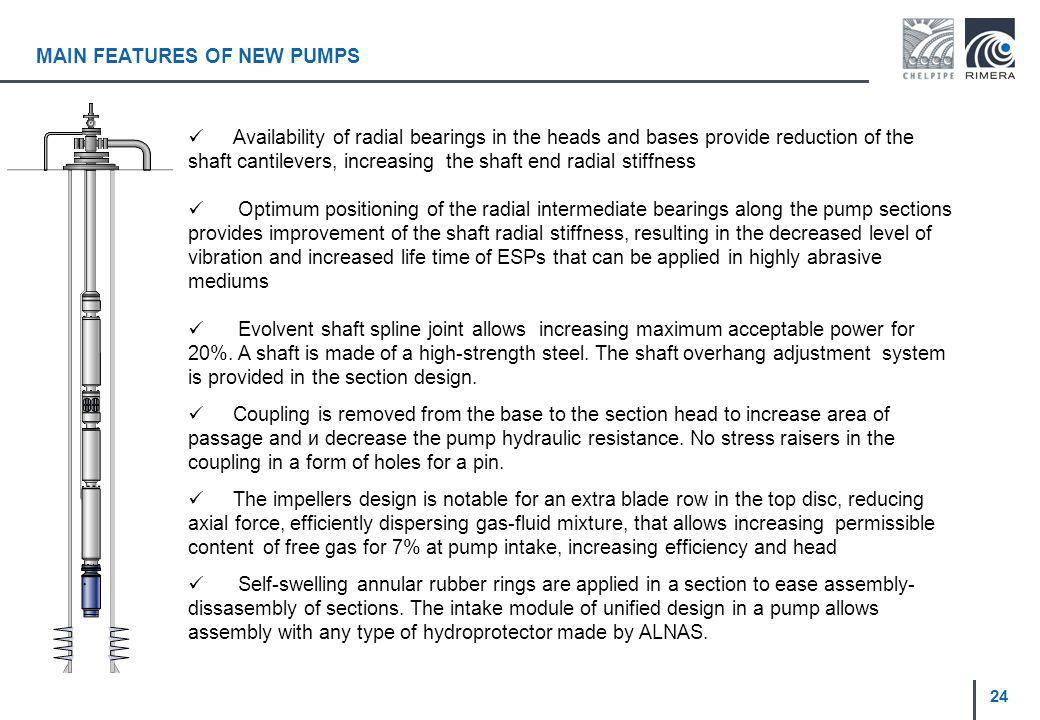 MAIN FEATURES OF NEW PUMPS Availability of radial bearings in the heads and bases provide reduction of the shaft cantilevers, increasing the shaft end