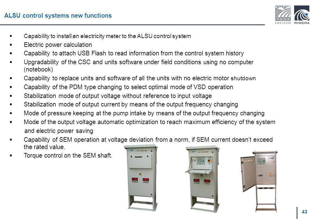 43 ALSU control systems new functions Capability to install an electricity meter to the ALSU control system Electric power calculation Capability to a