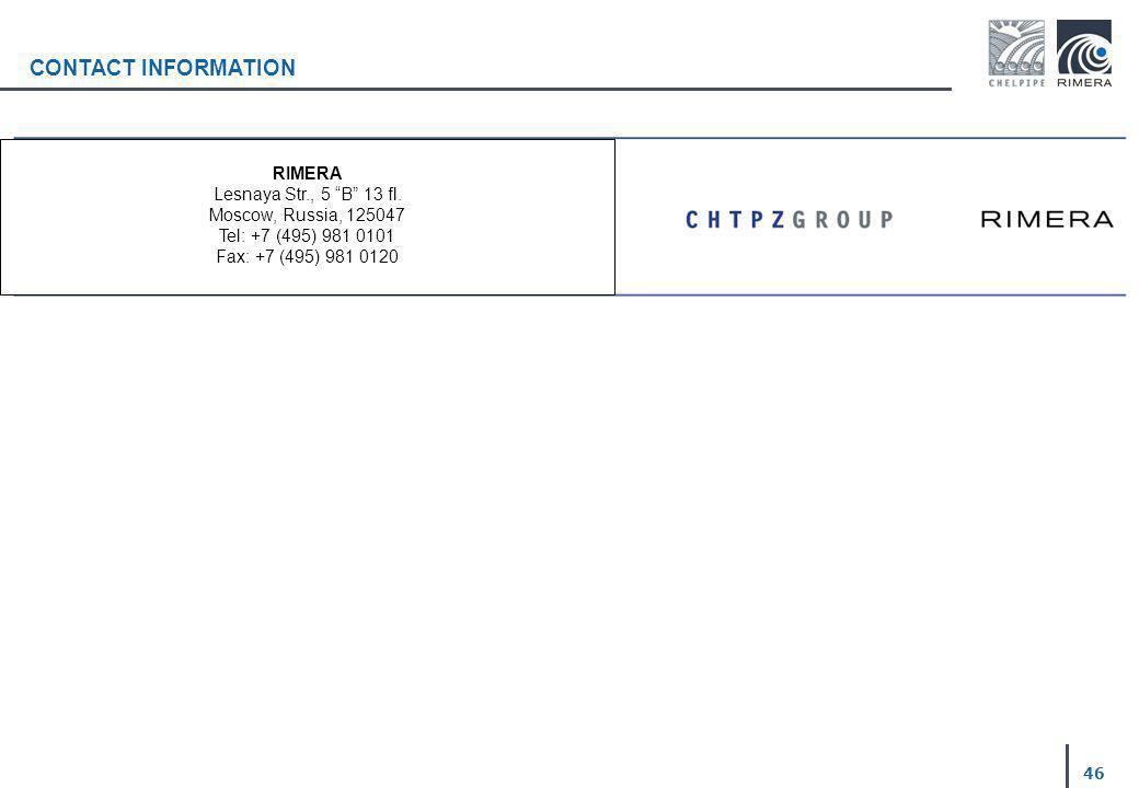 CONTACT INFORMATION 46 RIMERA Lesnaya Str., 5 B 13 fl. Moscow, Russia, 125047 Tel: +7 (495) 981 0101 Fax: +7 (495) 981 0120