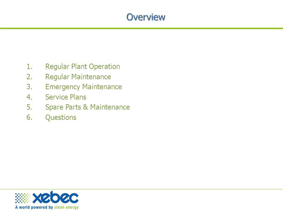 1.Regular Plant Operation 2.Regular Maintenance 3.Emergency Maintenance 4.Service Plans 5.Spare Parts & Maintenance 6.Questions Overview
