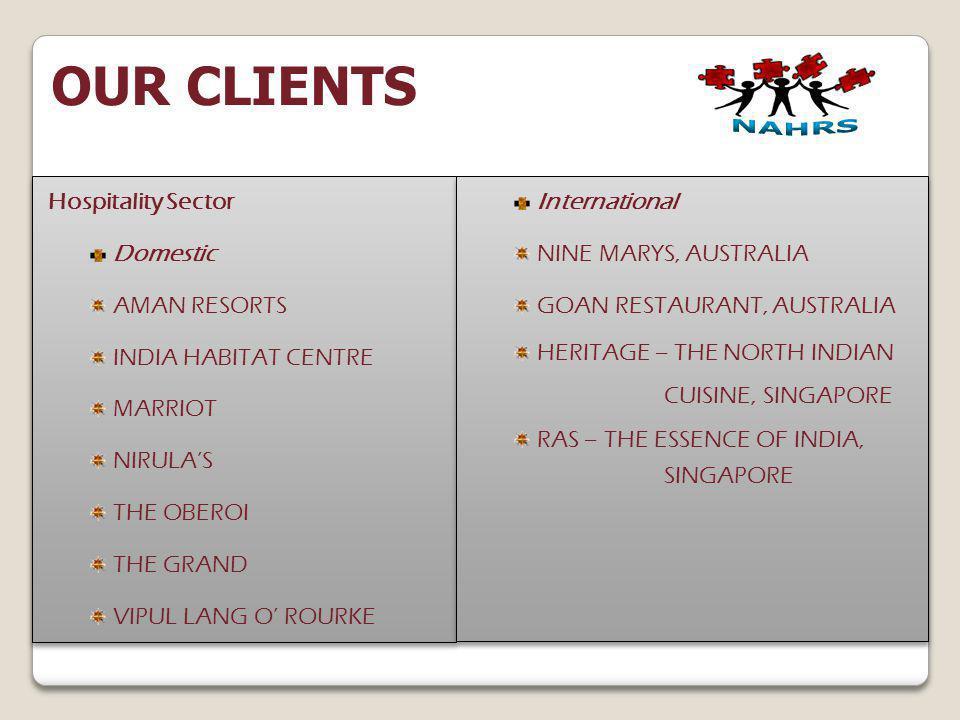 Hospitality Sector Domestic AMAN RESORTS INDIA HABITAT CENTRE MARRIOT NIRULAS THE OBEROI THE GRAND VIPUL LANG O ROURKE Hospitality Sector Domestic AMA