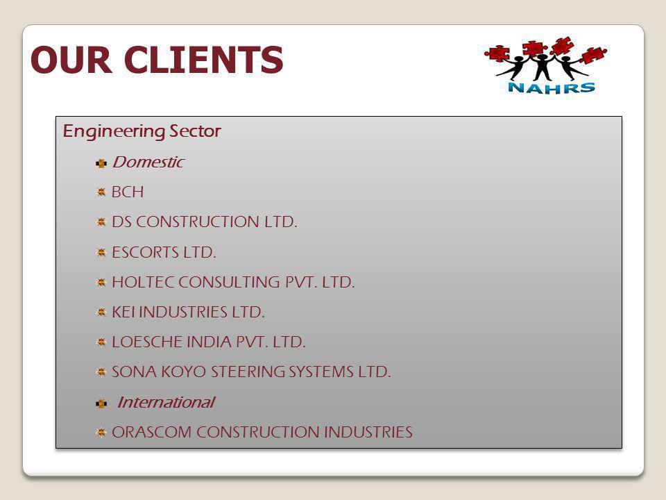 Engineering Sector Domestic BCH DS CONSTRUCTION LTD. ESCORTS LTD. HOLTEC CONSULTING PVT. LTD. KEI INDUSTRIES LTD. LOESCHE INDIA PVT. LTD. SONA KOYO ST