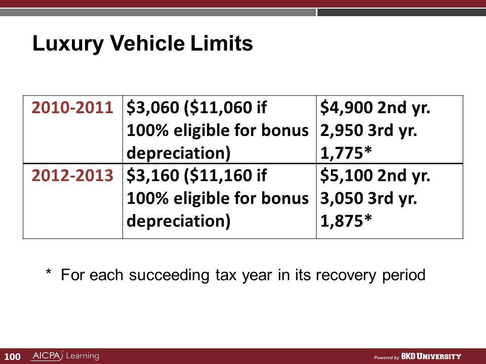 100 Luxury Vehicle Limits 2010-2011 $3,060 ($11,060 if 100% eligible for bonus depreciation) $4,900 2nd yr. 2,950 3rd yr. 1,775* 2012-2013$3,160 ($11,